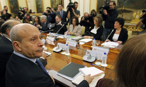 El Ministro Wert en el consejo de ministros durante la aprobacion de la FP Basica